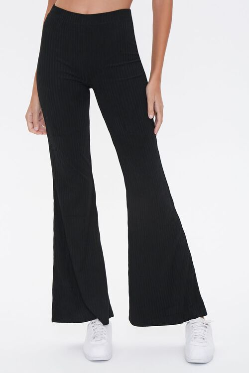Ribbed Knit Flare Pants, image 2