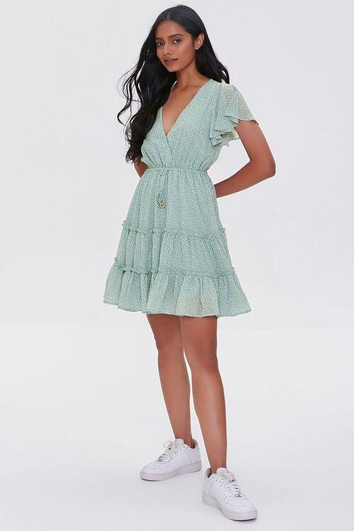 MINT/CREAM Tiered Speckle Print Mini Dress, image 4