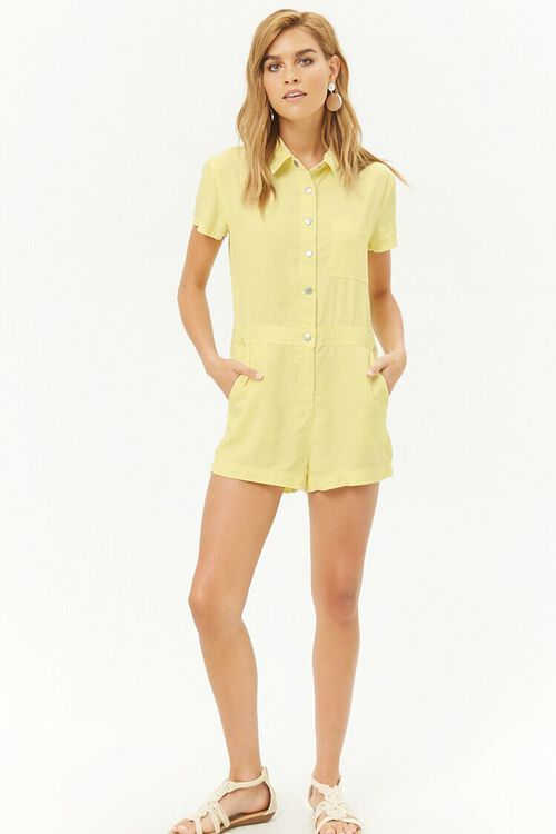 Chambray Button-Front Romper, image 4