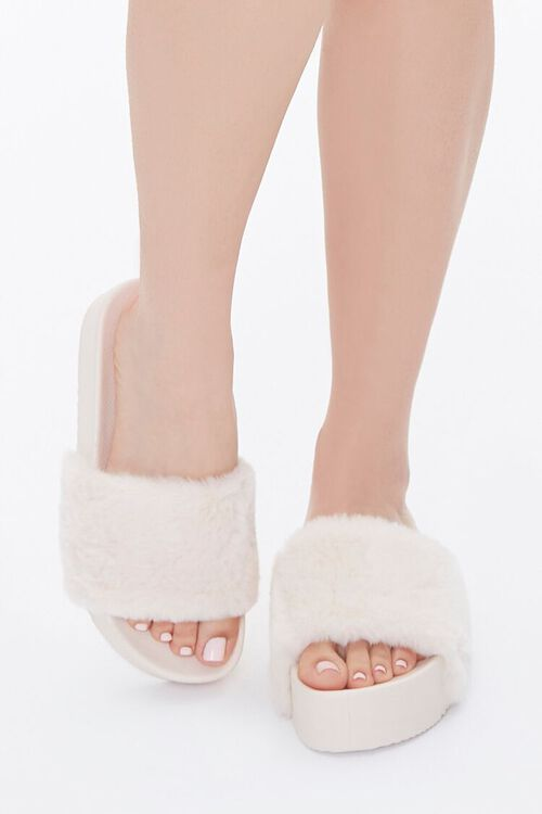 Faux Fur Wedge Slippers, image 4