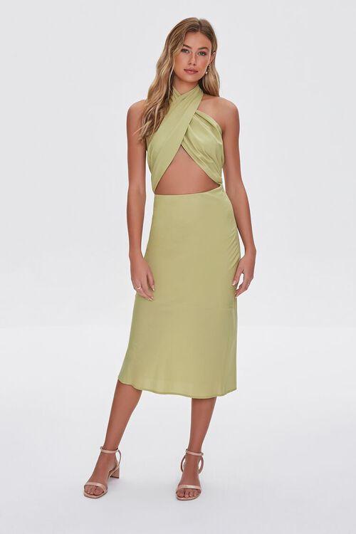 LIGHT OLIVE Crossover Halter Dress, image 6