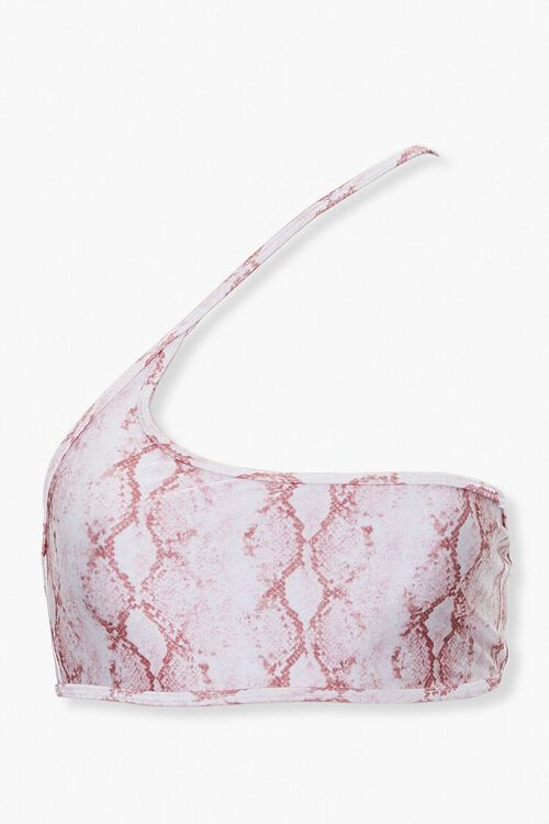 Snakeskin Print Cutout Bikini Top, image 1