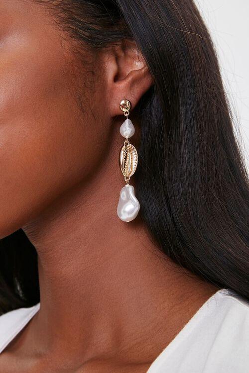 Faux Pearl Drop Earrings, image 1