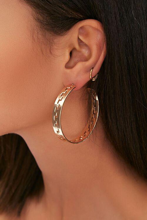 Geo Cutout Hoop Earrings, image 1