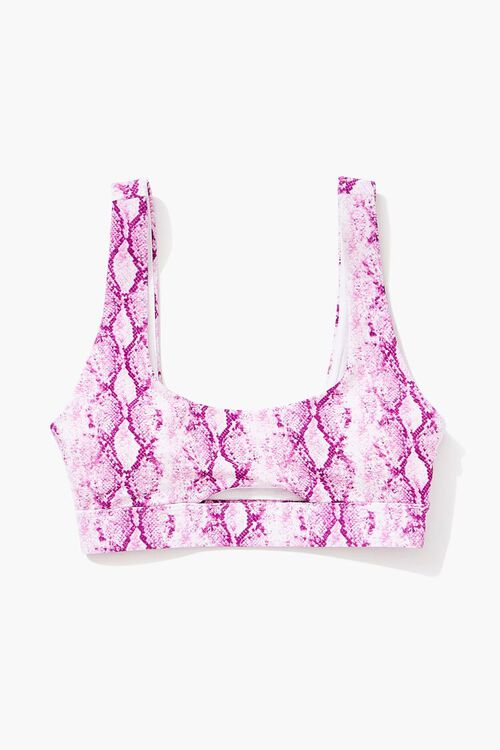 Snakeskin Print Cutout Bralette Bikini Top, image 4