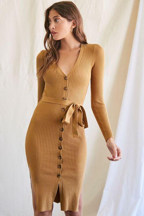 CAMEL Ribbed Sweater Dress, image 1