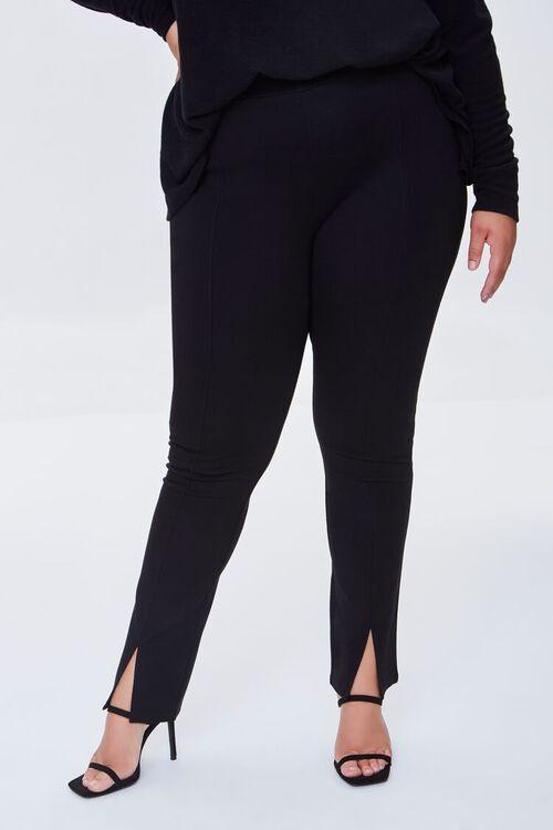 BLACK Plus Size Split-Hem Pants, image 2