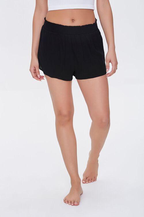 BLACK Smocked Swim Cover-Up Shorts, image 2