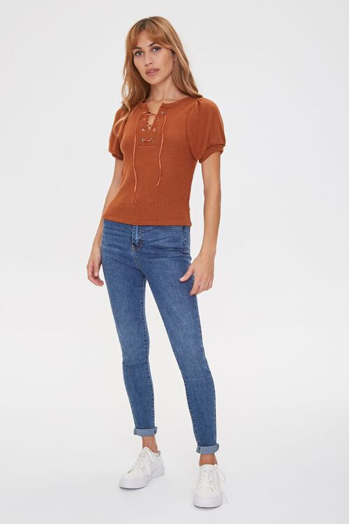 Ribbed Knit Lace-Up Top, image 4