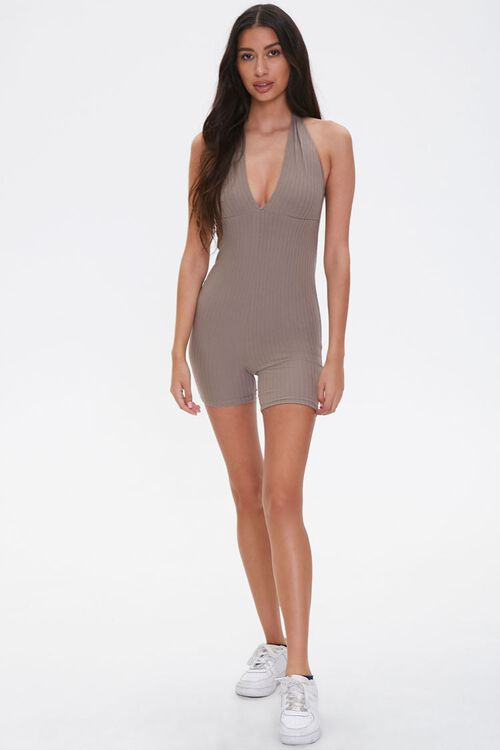 Ribbed Plunging Romper, image 4