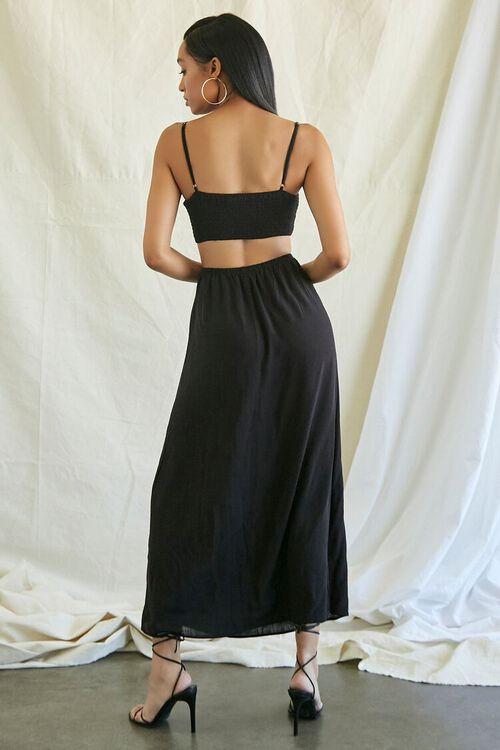 BLACK Smocked Cutout Maxi Dress, image 3