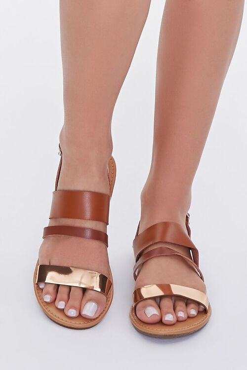 TAN/ROSE GOLD Strappy Faux Leather Sandals, image 4