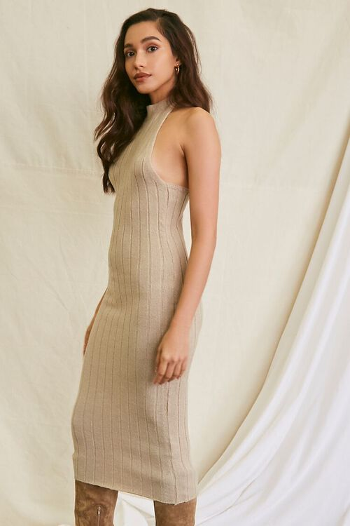 TAUPE Sweater-Knit Ribbed Halter Midi Dress, image 6
