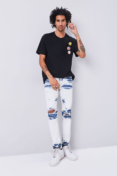 BLACK/MULTI Smiling Faces Embroidered Graphic Tee, image 5