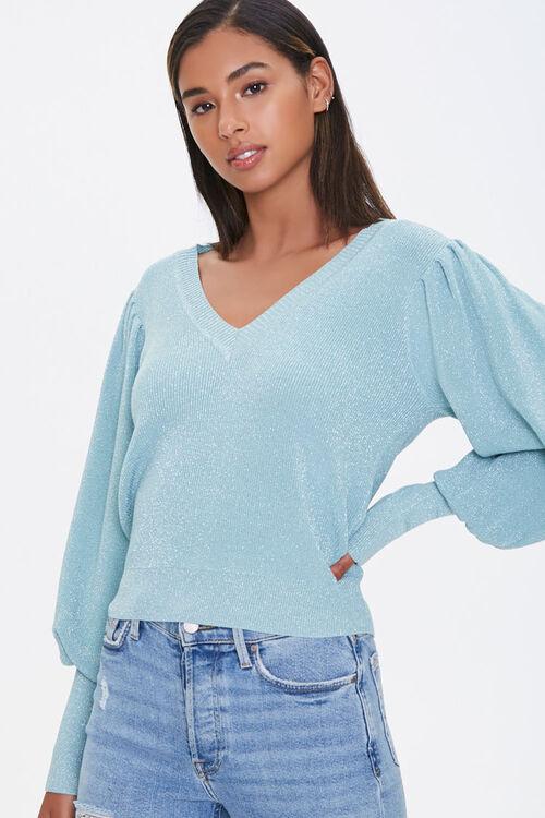 Glitter Knit Balloon-Sleeve Sweater, image 1