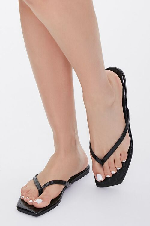 Faux Croc Leather Toe-Thong Sandals, image 1