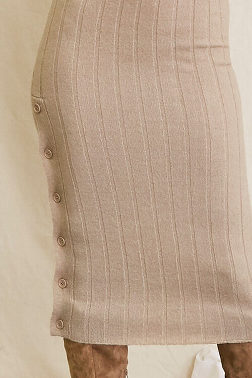 TAUPE Sweater-Knit Ribbed Halter Midi Dress, image 5