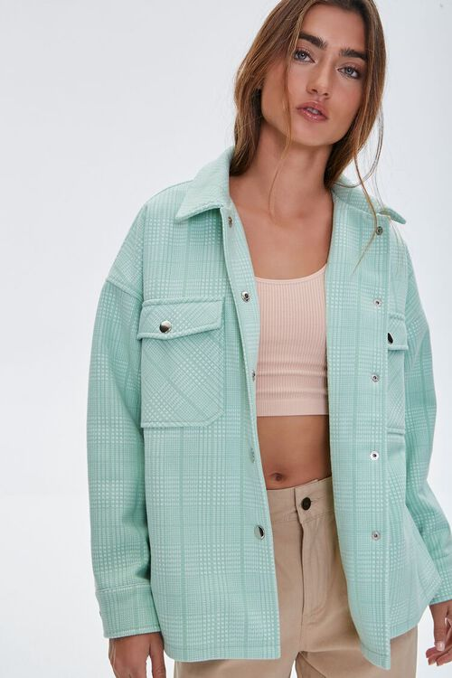 Plaid Button-Up Shacket, image 1