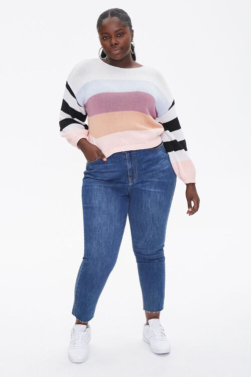 Plus Size Striped-Sleeve Sweater, image 4