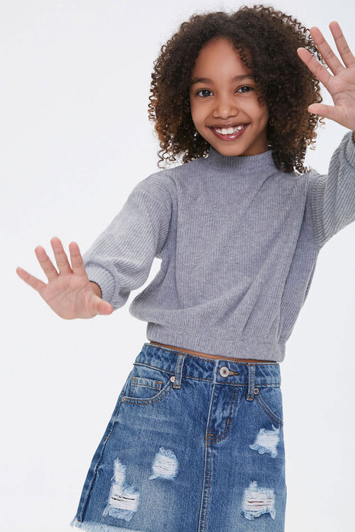 Girls Ribbed Turtleneck Top (Kids), image 1