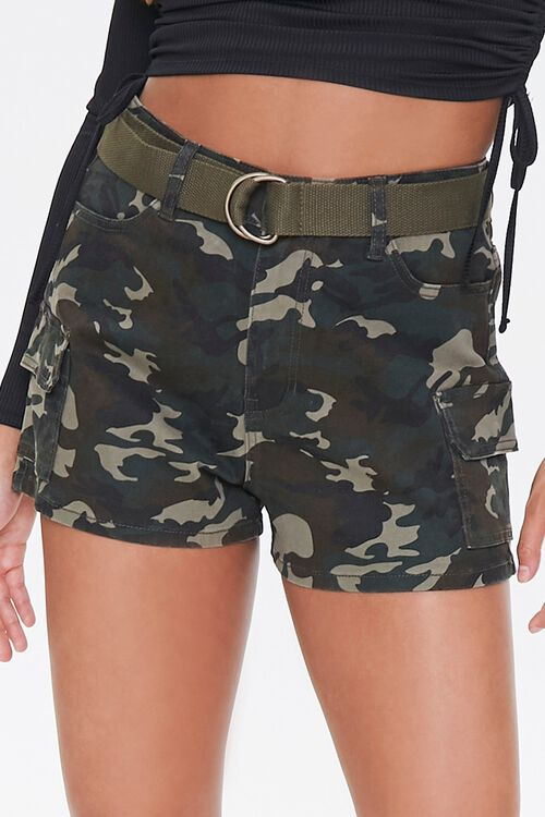 Belted Camo Print Shorts, image 5
