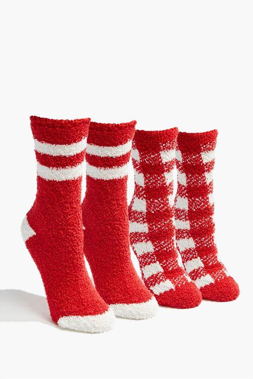 Fuzzy Knit Crew Socks Set, image 1