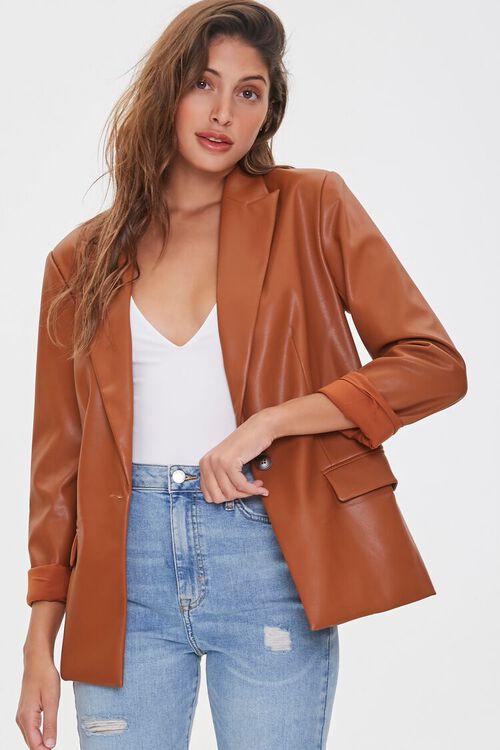 Faux Leather Blazer, image 6