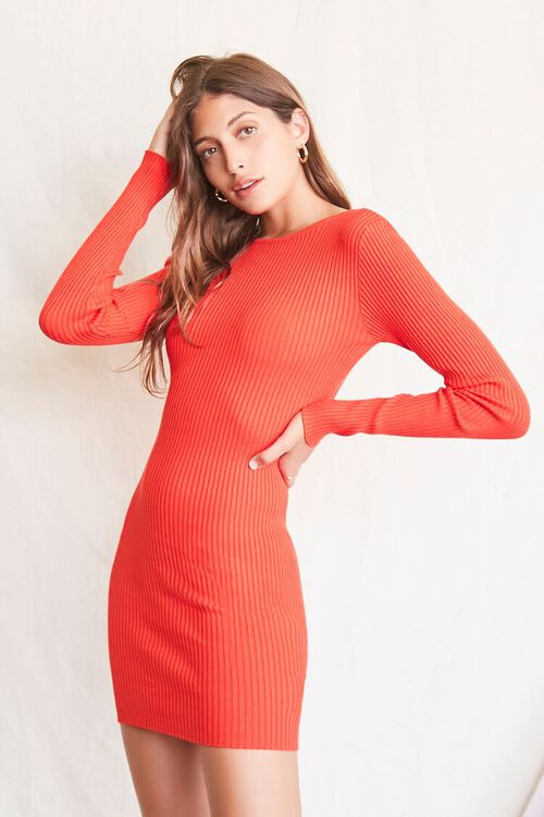 RED Twisted-Back Sweater Dress, image 2