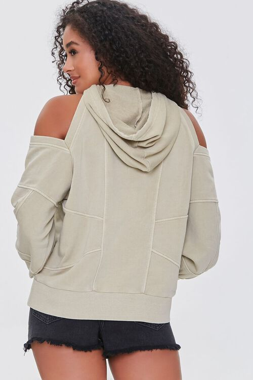 TAUPE Open-Shoulder Seamed Hoodie, image 3
