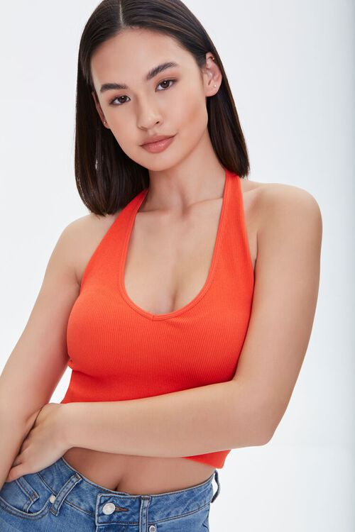 Seamless Cropped Halter Top, image 1
