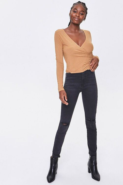 CAMEL Ribbed Surplice Long-Sleeve Top, image 4