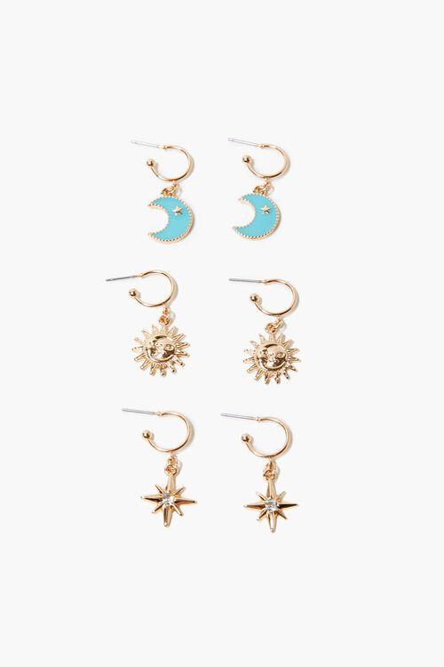 GOLD Celestial Pendant Hoop Earrings, image 1