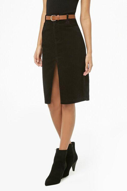 Slit Corduroy Pencil Skirt, image 1