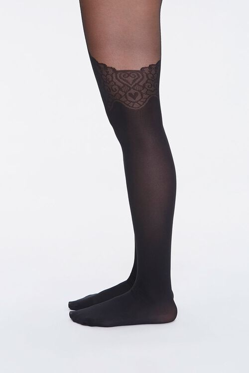 Ornate Heart Print Tights, image 2