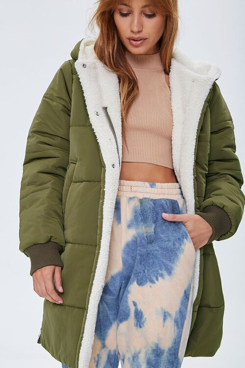 Faux Shearling-Lined Puffer Jacket, image 1