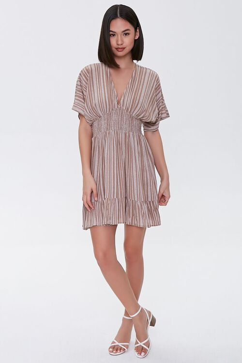 Plunging Striped Mini Dress, image 4