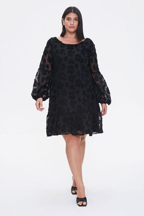 Plus Size Floral-Embellished Peasant Dress, image 4
