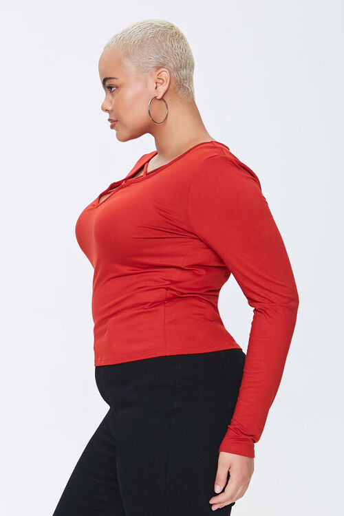 Plus Size Caged Long-Sleeve Top, image 2