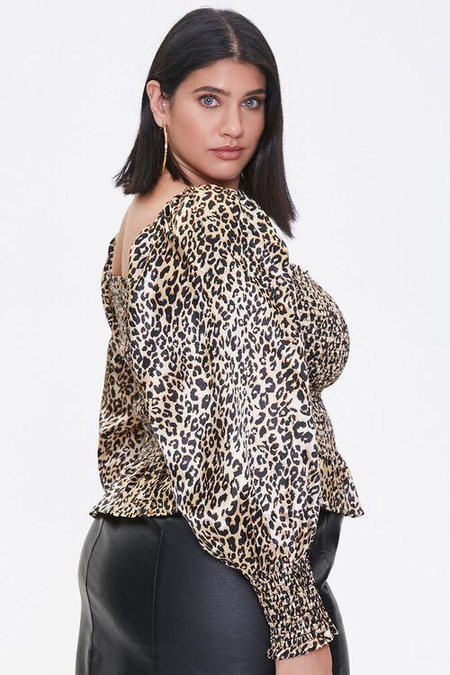 Plus Size Satin Leopard Print Top, image 2