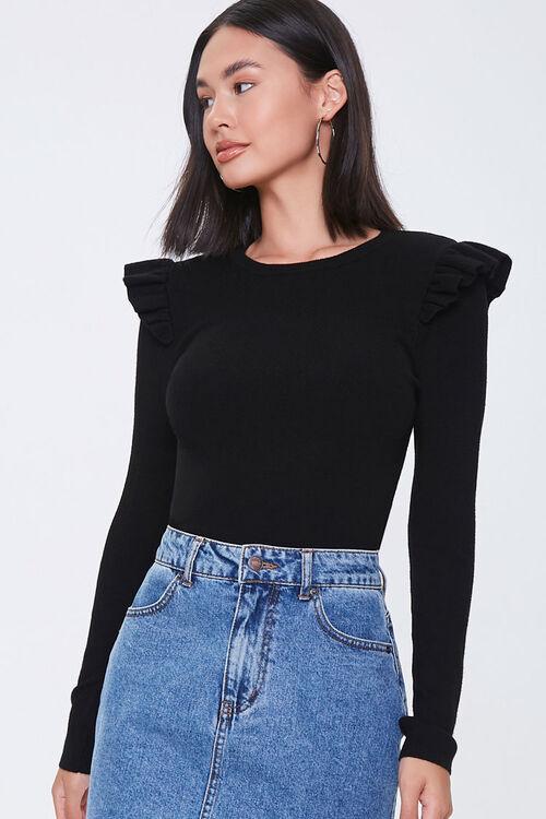 Ribbed Ruffle-Trim Sweater, image 1