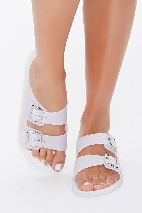 WHITE Buckled Flatform Sandals, image 2
