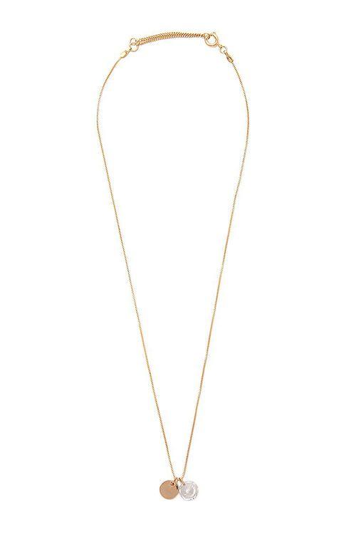 GOLD Faux Gem & Disc Pendant Necklace, image 2