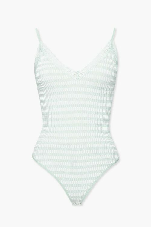 SAGE/WHITE Striped Lace-Trim Bodysuit, image 1