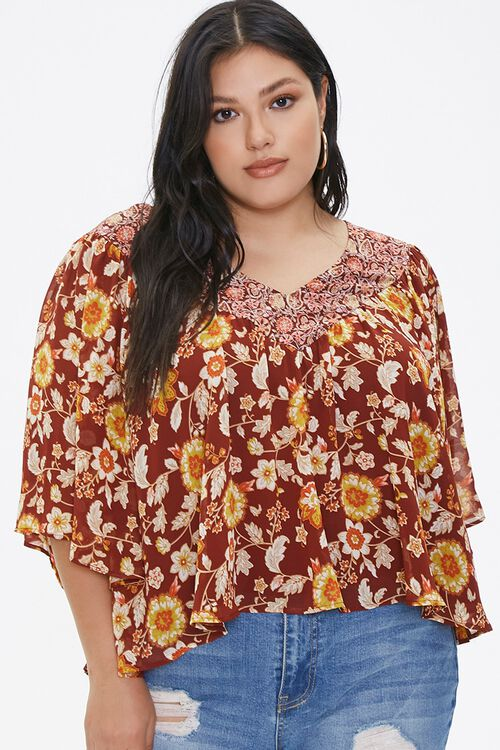 Plus Size Ornate Floral Top, image 1