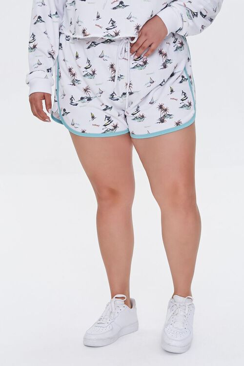 Plus Size Surfer Print Shorts, image 2