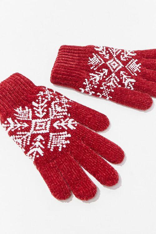 RED Fair Isle Print Gloves, image 2