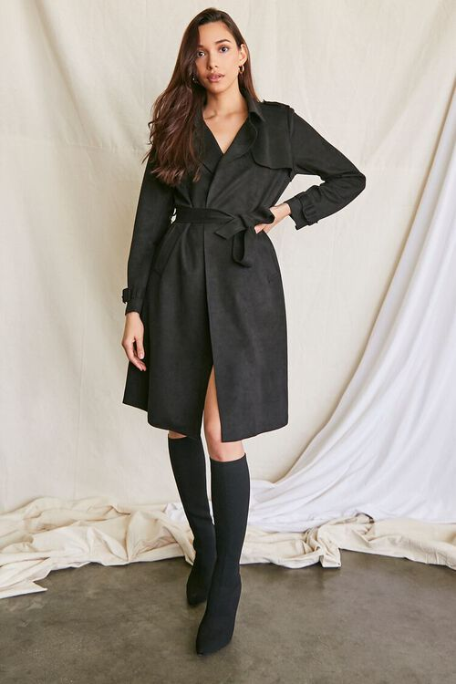 BLACK Faux Suede Duster Trench Jacket, image 4