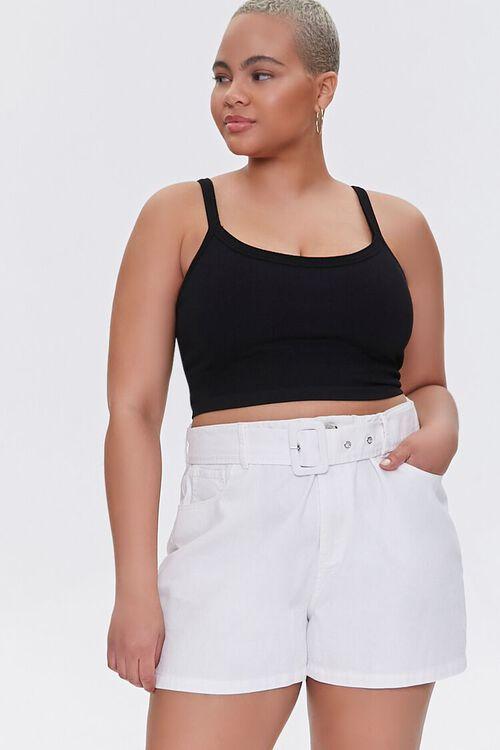 WHITE Plus Size Belted Shorts, image 1