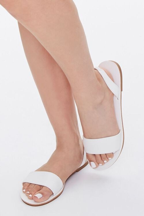 WHITE Faux Leather Slingback Sandals, image 1