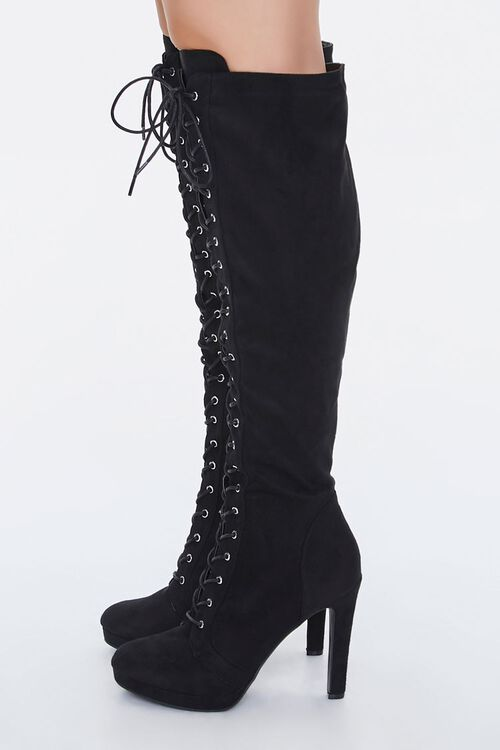 Lace-Up Knee-High Stiletto Boots, image 2